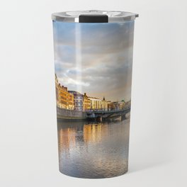 Dublin,  Liffey River at Sunset Travel Mug