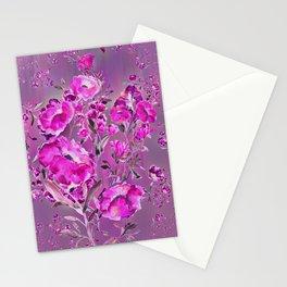 Purple flowers on purple Stationery Cards