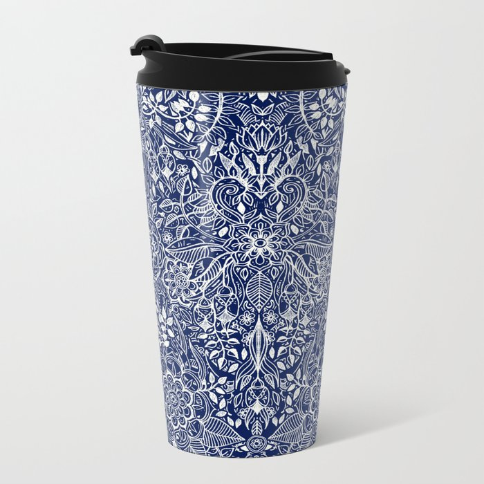 Detailed Floral Pattern in White on Navy Travel Mug