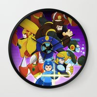 megaman Wall Clocks featuring Megaman 2 by Patrick Towers