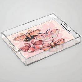 Pink Moths Acrylic Tray
