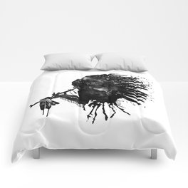 Indian with Headdress Black and White Silhouette Comforters