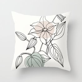 Floral Linework with Color Pop Throw Pillow