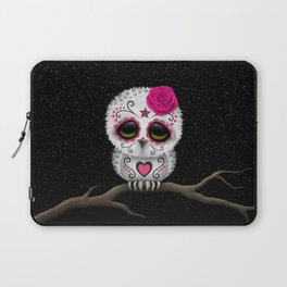 Adorable Pink Day of the Dead Sugar Skull Owl Laptop Sleeve