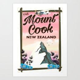 Mount Cook New Zealand travel poster Art Print
