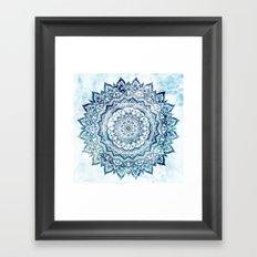 BLUE JEWEL MANDALA Framed Art Print