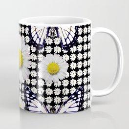 BLACK-WHITE DAISIES & MONARCH BUTTERFLIES ART Coffee Mug
