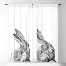 Black and white rabbit Blackout Curtain