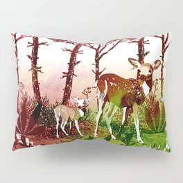 Deer Forest Watercolor Design Pillow Sham