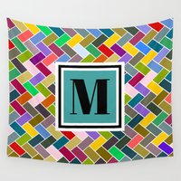 monogram Wall Tapestries featuring M Monogram by mailboxdisco