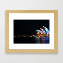 Composite image of Sydney Opera House at night Framed Art Print