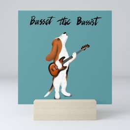 Basset the Bassist (Blue-Gray) Mini Art Print