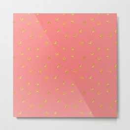 Modern coral faux gold glitter starry pattern Metal Print