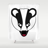 badger Shower Curtains featuring Badger by Doctor Hue