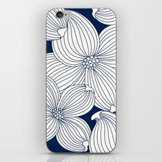 Dogwood Big Linear Floral: Navy Ivory iPhone Skin