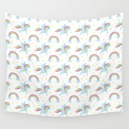Cute abstract magical pink rainbow unicorn pattern Wall Tapestry