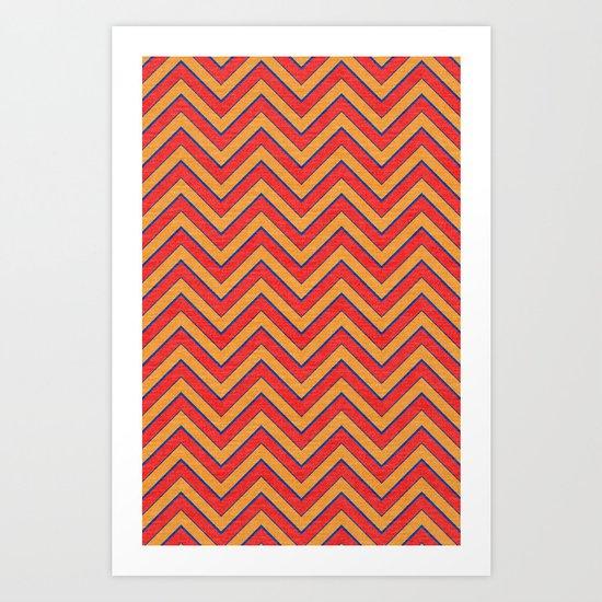 Chevron - Blue|Orange|Red Art Print
