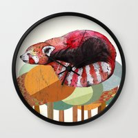 card Wall Clocks featuring Red Panda by Sandra Dieckmann