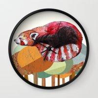 collage Wall Clocks featuring Red Panda by Sandra Dieckmann