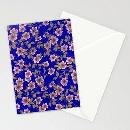 Abstract blush pink brown sky blue flowers Stationery Cards