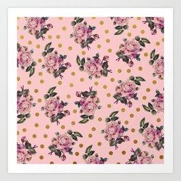 Pink Roses on Pink Art Print
