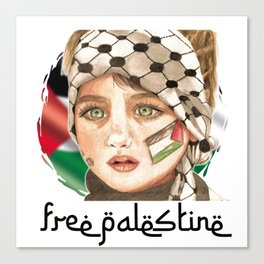 Free Palestine in watercolor Canvas Print