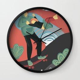 Summer skateboarding Wall Clock