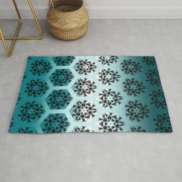 Black and Teal Honeycomb Illusion Graphic Design Pattern Rug