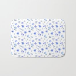 Elegant blush blue yellow watercolor floral pattern Bath Mat