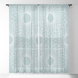 mathematical rotating roses - pale blue Sheer Curtain
