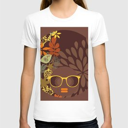 Afro Diva : Sophisticated Lady Retro Brown T-shirt