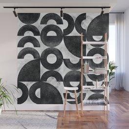 Monochrome Bauhaus Mid Century Abstract Pattern (1/2) Wall Mural