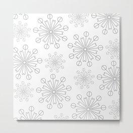 Black White Flower Pattern Metal Print