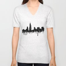 Watercolor Chicago Skyline Unisex V-Neck