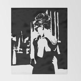 Audrey Hepburn in movie Breakfast at Tiffany's. Black and white portrait, monochrome stencil art Throw Blanket