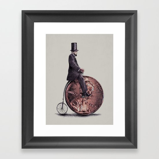 Penny Farthing (grey option) Framed Art Print