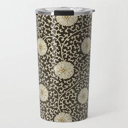 Retro Floral Black Travel Mug