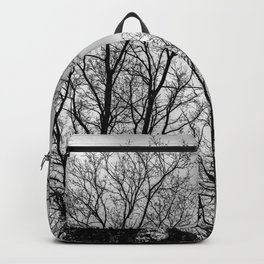 Black and white haunting trees Backpack
