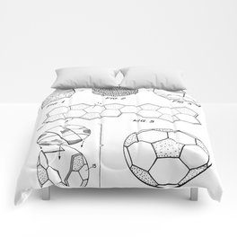 Soccer Ball Patent - Football Art - Black And White Comforters