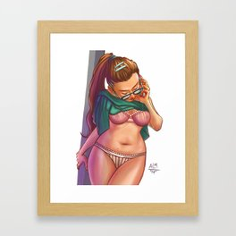 The Maiden and Her Cell Phone Framed Art Print
