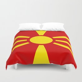 Flag of Macedonia - authentic (High Quality image) Duvet Cover
