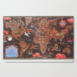World map wall art 1948 dorm decor mappemonde air france Cutting Board