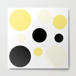 Atomic Era Circles With Dots Yellow Metal Print