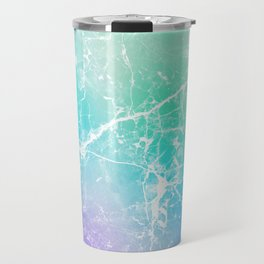 Modern turquoise purple watercolor abstract marble Travel Mug