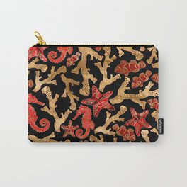 Sea horse Starfish Coral Pattern Carry-All Pouch