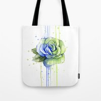 seahawks Tote Bags featuring Seattle 12th Man Seahawks Rose Watercolor Painting Art by Olechka