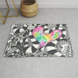 Watercolor Heart with Black and White Doodles Rug