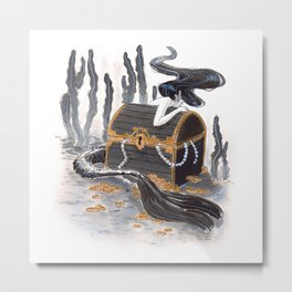 The Mermaid and her Treasure Chest Metal Print