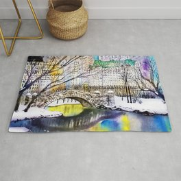 Central Park New York Watercolor Art Rug
