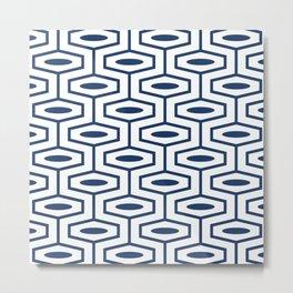 Geometric Ogee Pattern 157 Navy Blue Metal Print